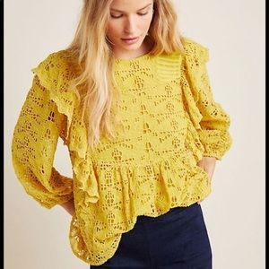 Gold Anthropologie Clementine Lace Blouse